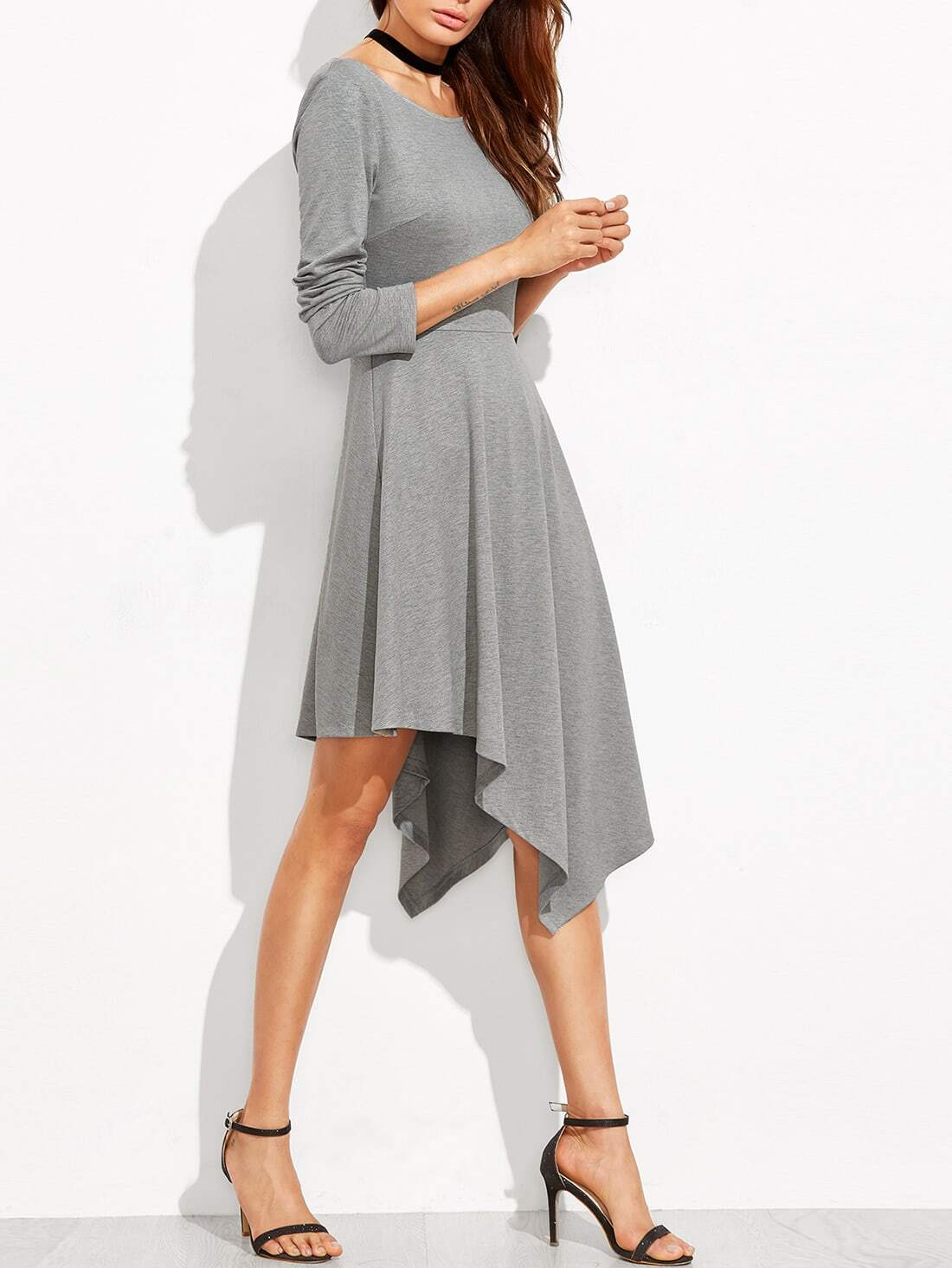 Heather Grey Long Sleeve Asymmetric Dress dress160908702