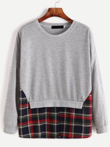 Grey Contrast Gingham Hem Combo Sweatshirt