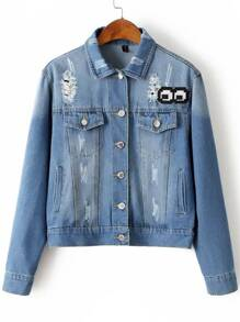 Blue Cartoon Embroidery Ripped Denim Jacket