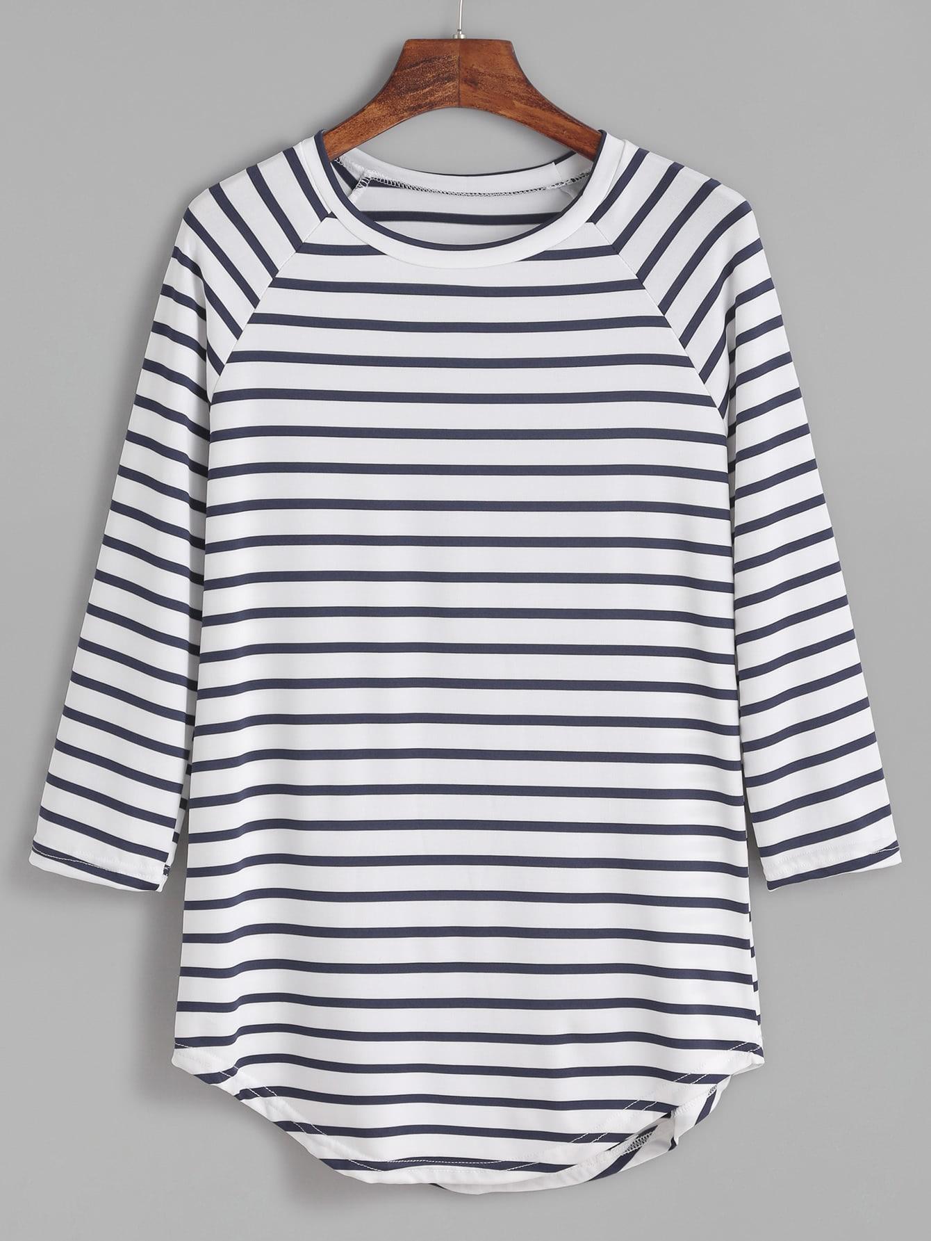 Contrast Striped Raglan Sleeve Curved Hem T-shirt striped elbow patch curved hem t shirt