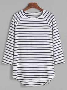 T-shirt à rayure contrasté manche raglan