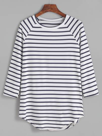 Contrast Striped Raglan Sleeve Curved Hem T-shirt
