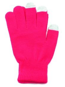 Gants tricotés à chaque doigt - rose vif