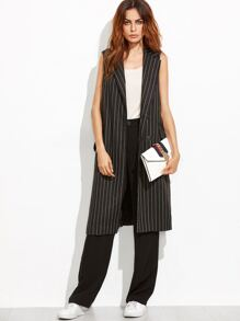 Black Pinstripe Longline Sleeveless Trench Coat