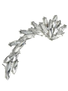 Silver Plated Rhinestone Ear Crawler 1pc
