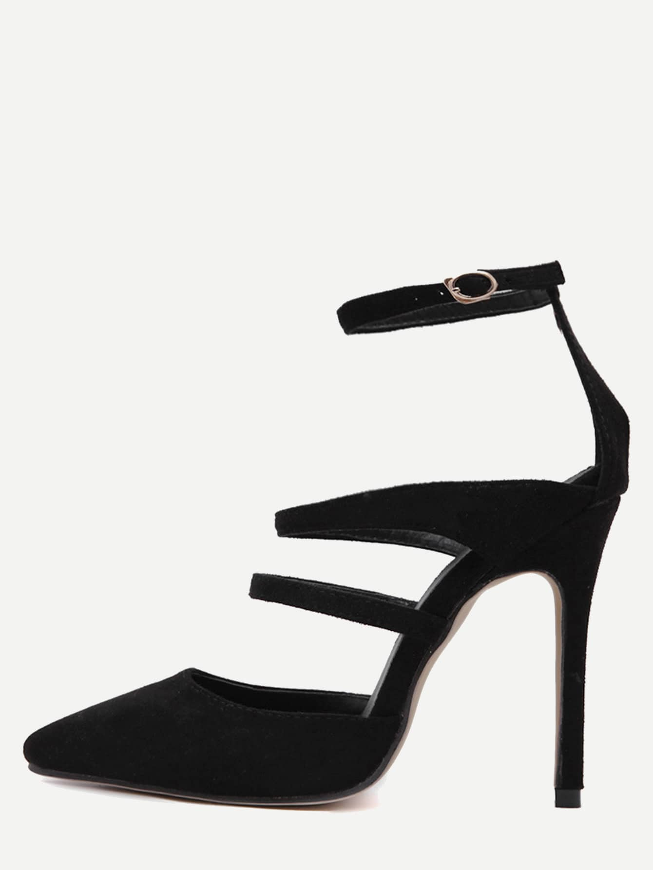 Buy Black Faux Suede Point Toe Mary Jane Pumps