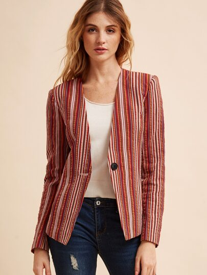 Multicolor Vertical Striped Collarless Blazer