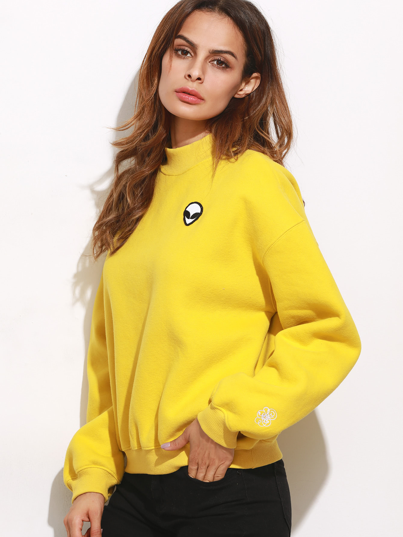 Buy Yellow Drop Shoulder Embroidered Sweatshirt