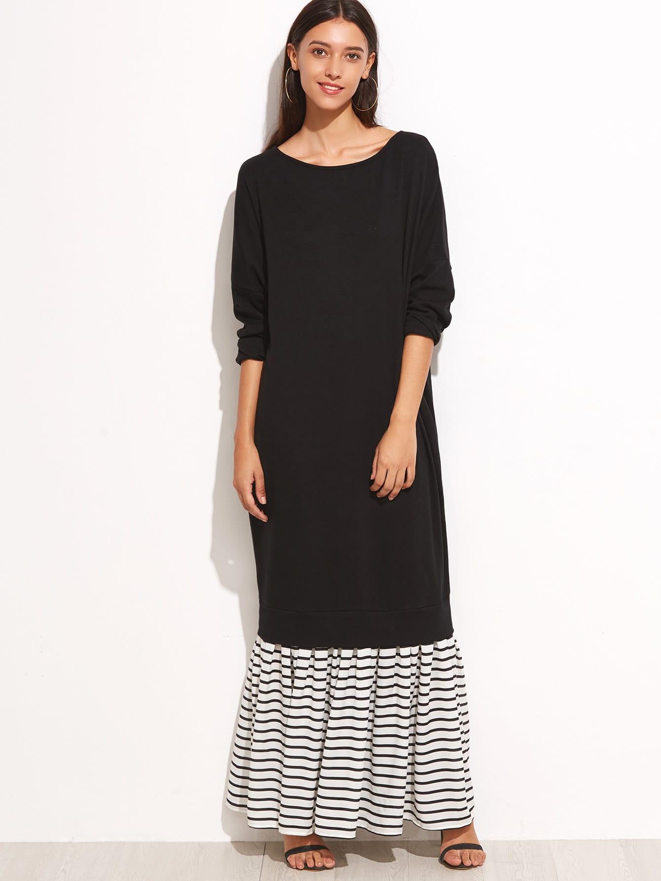 Black Contrast Striped Trim Sweatshirt Dress dress160909701