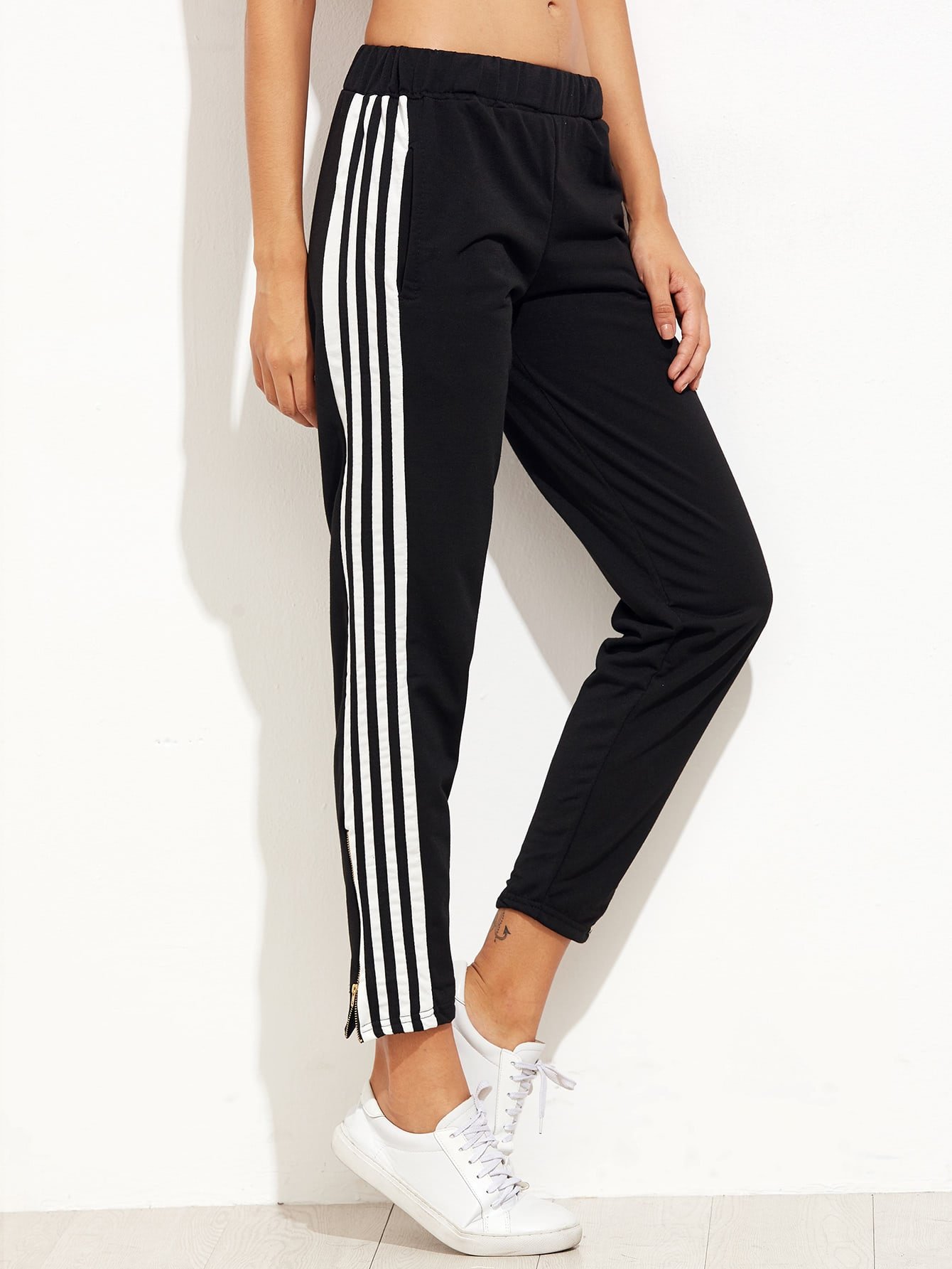 Black Striped Trim Zipper PantsBlack Striped Trim Zipper Pants<br><br>color: Black<br>size: L,M,S