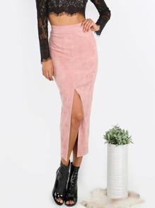 Pink Slit Front Pencil Skirt