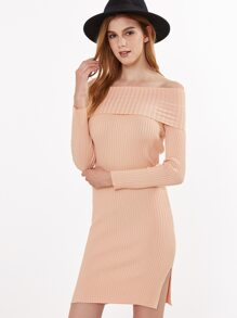 Pink Off The Shoulder Fold Over Slit Side Sweater Dress
