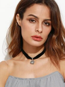 Black Velvet Hollow Heart Choker Necklace