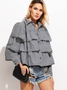 Gingham Layered Flounce Blouse