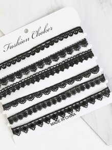 Fully Laced Choker Set BLACK