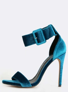 Velvet Ankle Strap Stiletto Heels TEAL