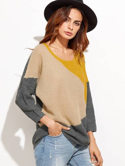 Pull color-block manche longue