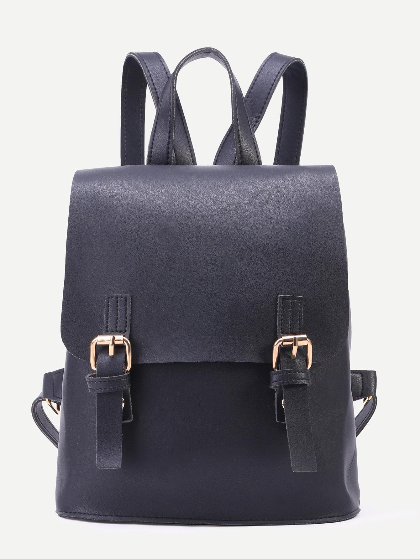 Фото Black PU Double Buckle Flap Backpack. Купить с доставкой