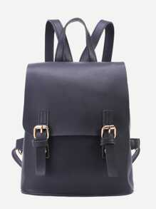 Black PU Double Buckle Flap Backpack