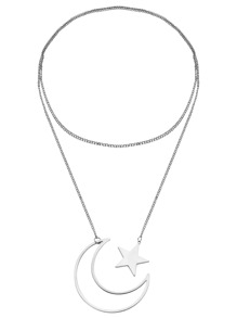 Silver Plated Moon Star Pendant Necklace
