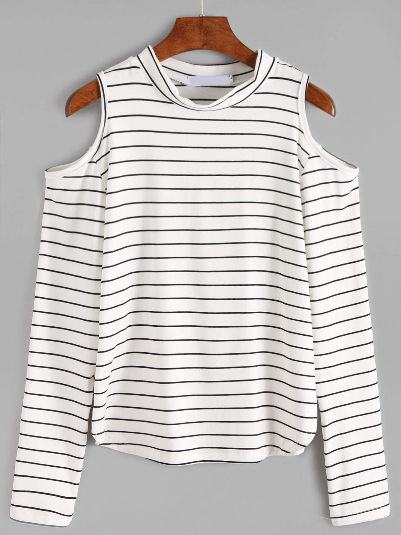 White open shoulder striped long sleeve t shirt shein Striped long sleeve t shirt