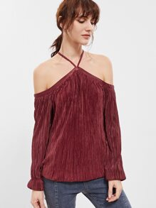 Burgundy Crisscross Cold Shoulder Pleated Top