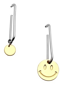 Gold Smiley Face Asymmetrical Drop Earrings