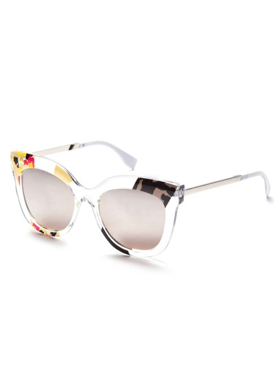Clear Print Frame Grey Cat Eye Sunglasses