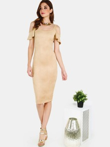 Faux Suede Cold Shoulder Dress CAMEL