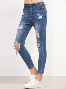 Blue Bleach Wash Ripped Ankle Jeans