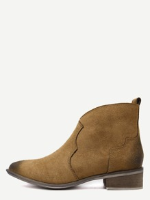 Brown Faux Suede Distressed Cork Heel Ankle Boots