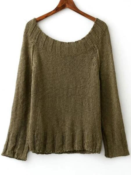 Army Green Boat Neck Raglan Sleeve SweaterArmy Green Boat Neck Raglan Sleeve Sweater<br><br>color: Green<br>size: one-size