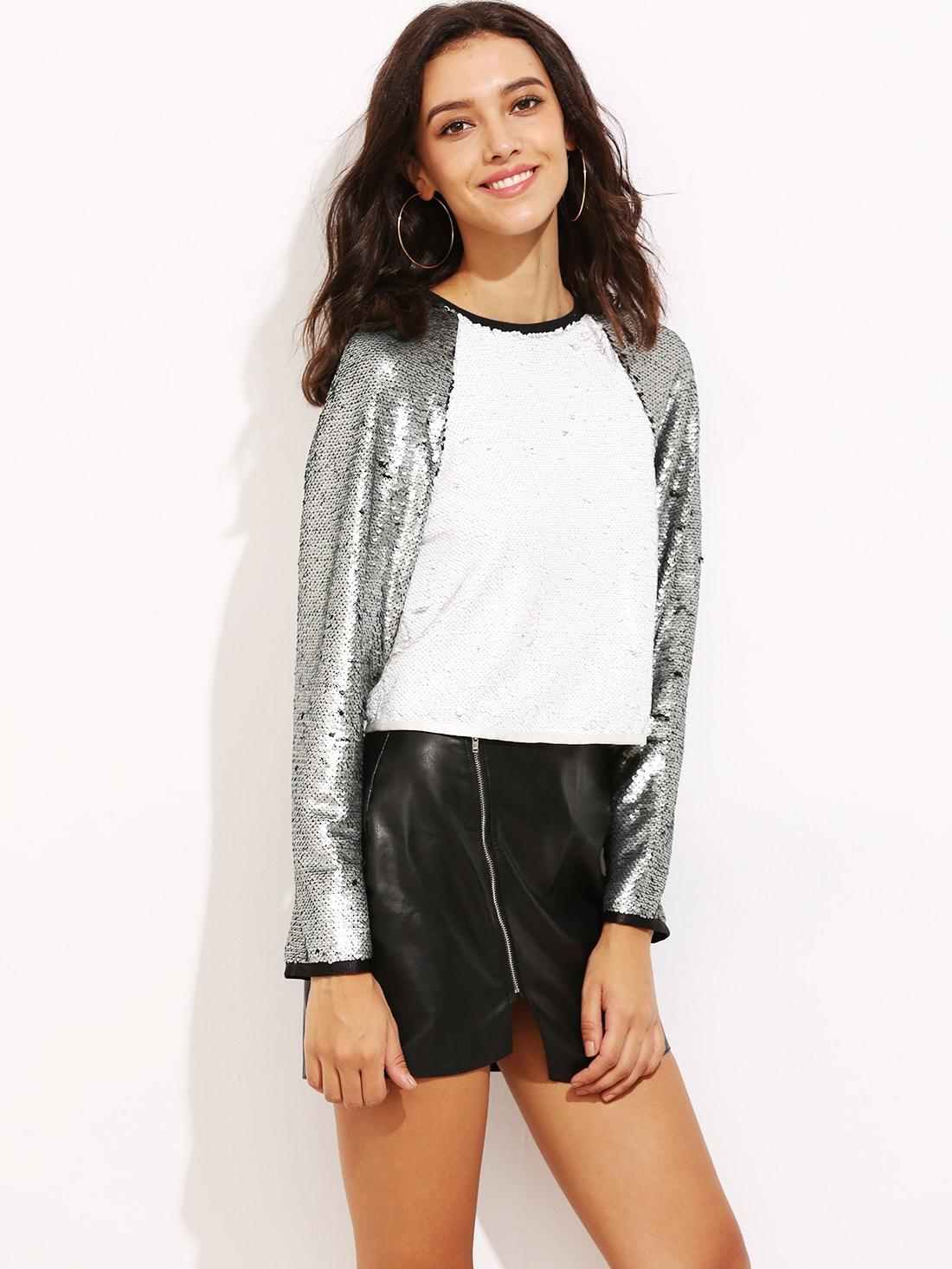 Contrast Raglan Sleeve Sequin T-shirt tee160909702