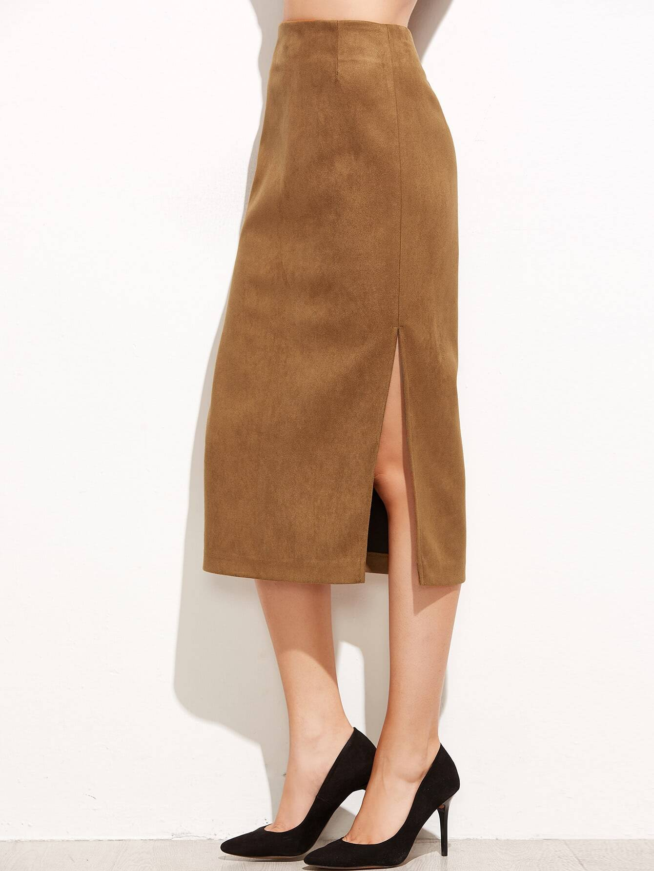 Khaki Suede Split Side SkirtKhaki Suede Split Side Skirt<br><br>color: Khaki<br>size: L,M,S
