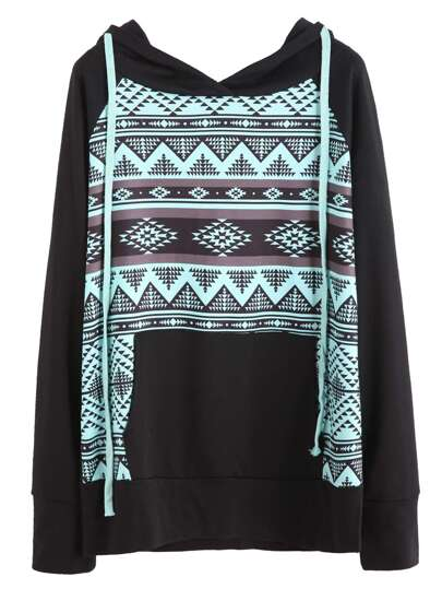 Black Graphic Print Raglan Sleeve Hooded Sweatshirt