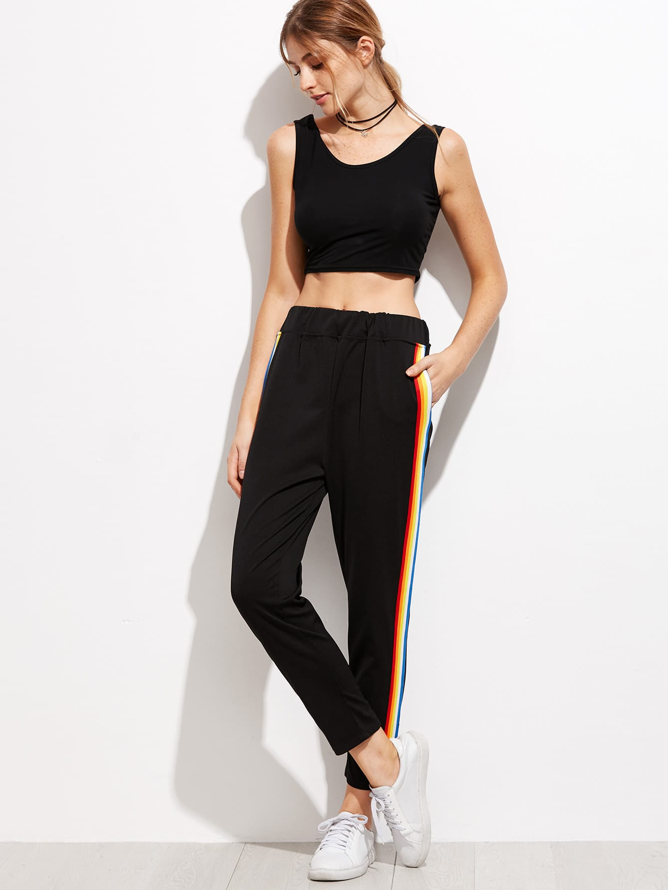 Contrast Rainbow Stripe Pants Shein Sheinside