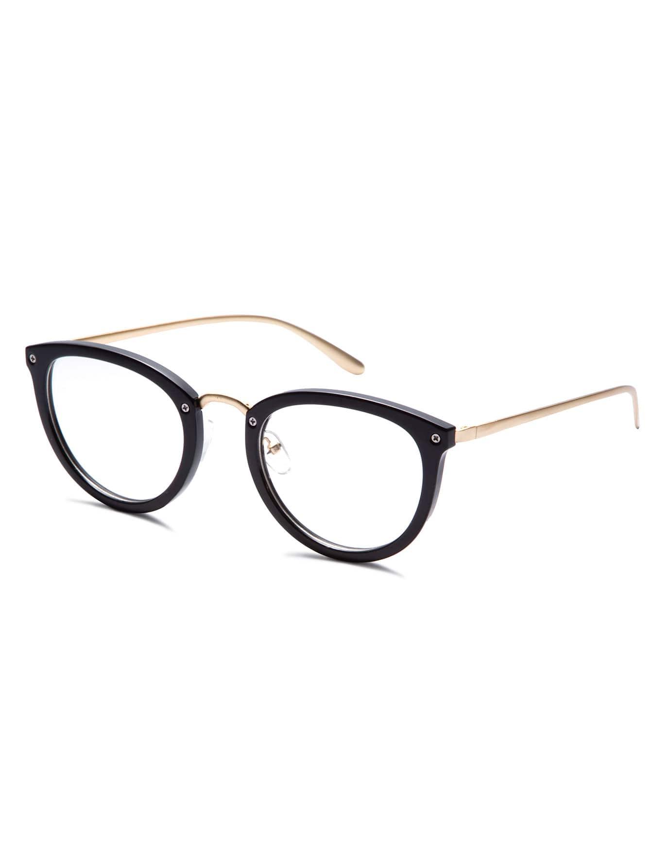 Shiny Black Frame Gold Arm Glasses -SheIn(Sheinside)