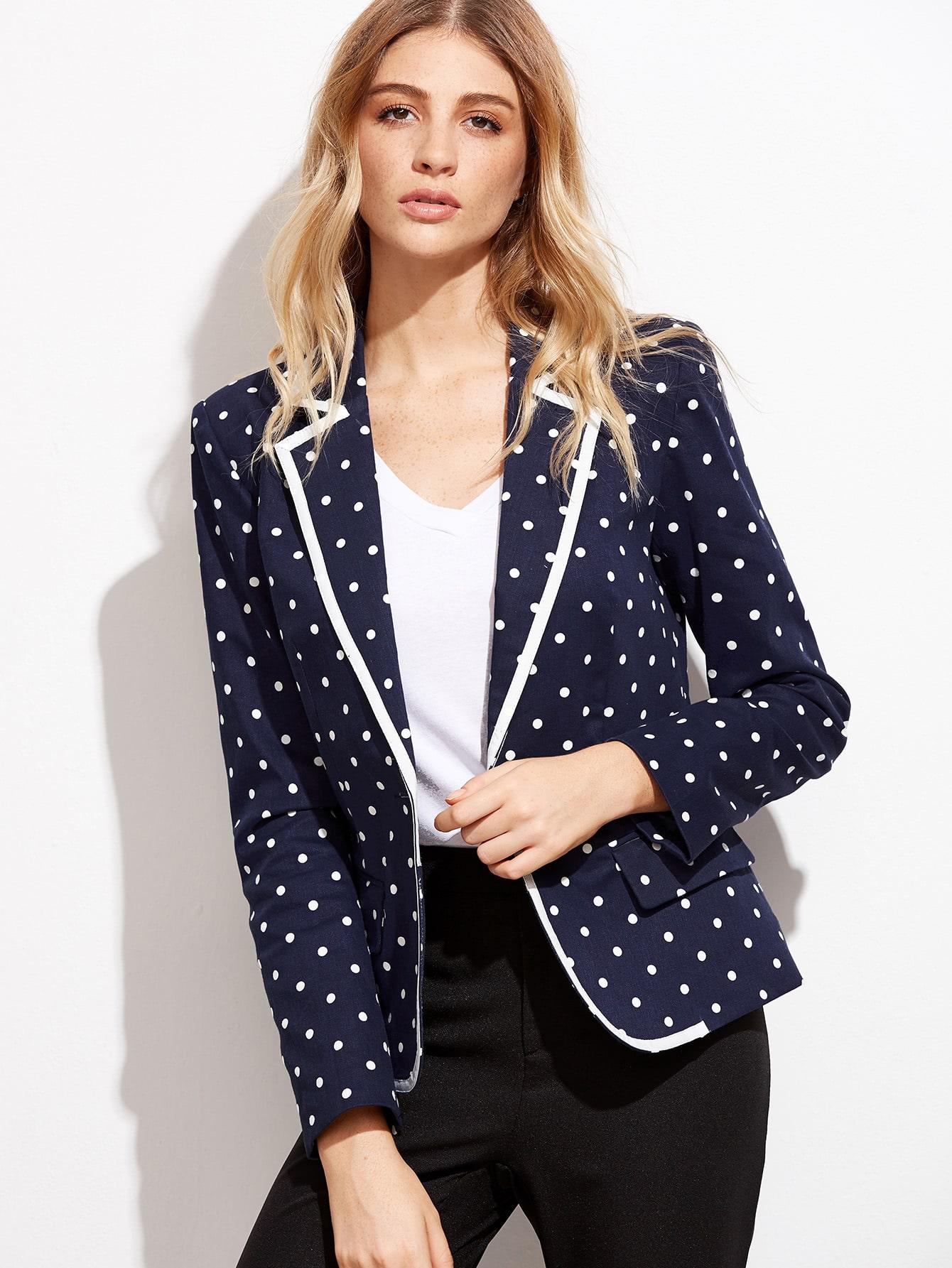Navy polka dot print contrast binding blazer