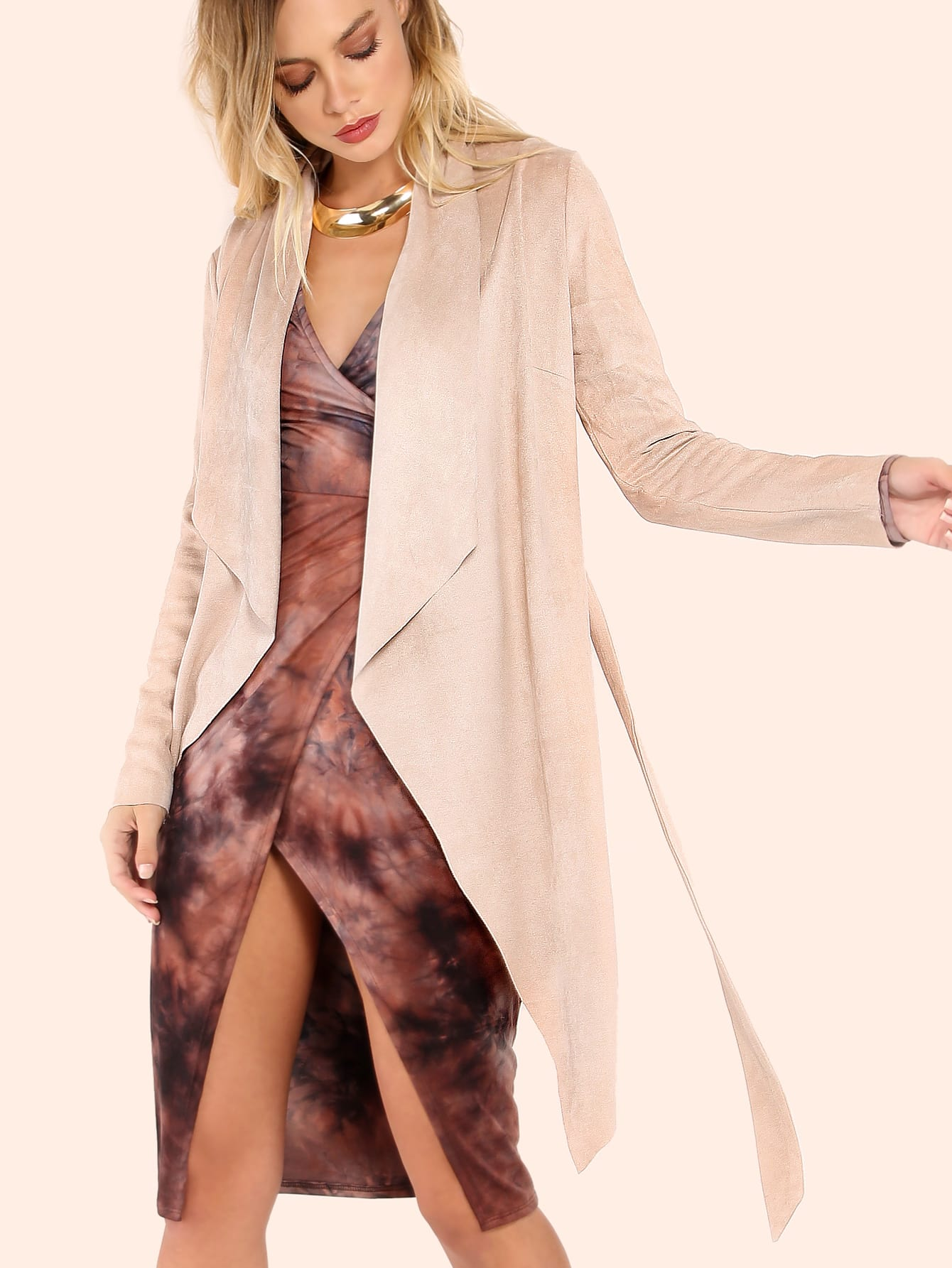 Suede Belted Crepe Lapel Outerwear NUDESuede Belted Crepe Lapel Outerwear NUDE<br><br>color: Nude<br>size: L,M,S,XS
