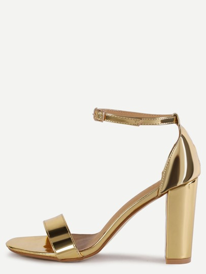 Gold Peep Toe Ankle Strap Sandals