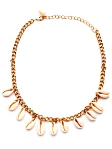 Gold Chain Cowrie Shell Necklace