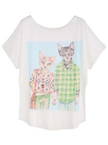 White Cartoon Print Dolman Sleeve T-shirt