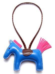 Blue Faux Leather Pony Keychain