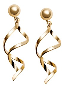 Gold Plated Spiral Design Drop Earrings