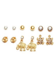 Gold Plated Rhinestone Multi Shaped Stud Earrings Set