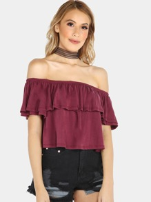 Off Shoulder Ruffle Bardot Crop Top BURGUNDY