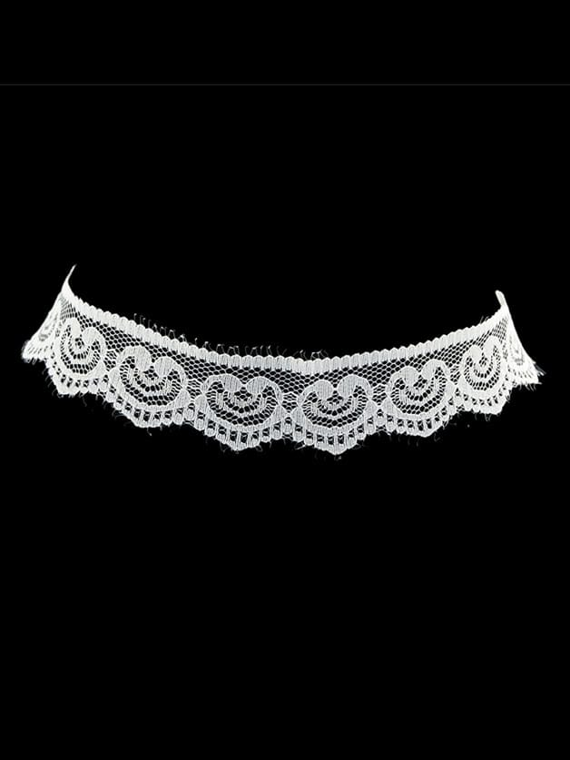 White Gothic Style Black White Lace Flower Wide Choker Necklace white gothic style black white lace flower wide choker necklace