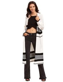 Veste pull longue - noir et blanc