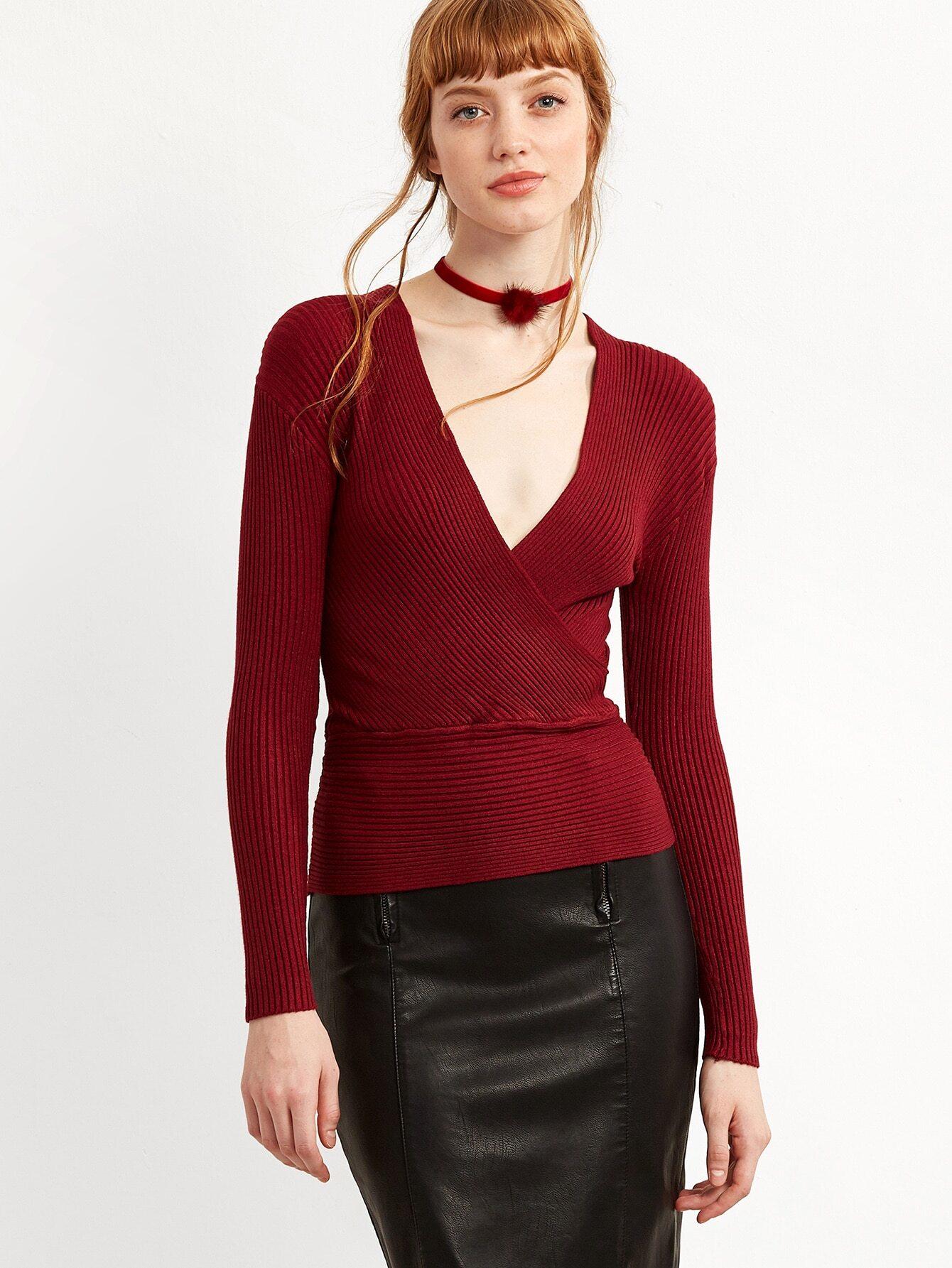 Burgundy Deep V Neck Wrap Sweater sweater160916101