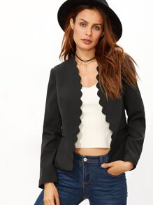 Black Scallop Trim Blazer With Welt Pocket